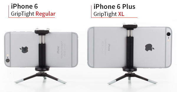 iPhone 6 with GripTight Regular and GripTight XL with iPhone 6 Plus side by side.